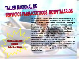 TALLER NACIONAL DE SERVICIOS FARMACEUTICOS  HOSPITALARIOS