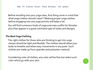 How To Choose Right Yoga Apparel For Women
