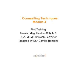 Counselling Techniques  Module 4
