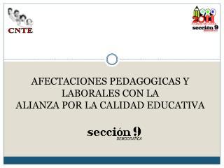 AFECTACIONES PEDAGOGICAS Y LABORALES CON LA  ALIANZA POR LA CALIDAD EDUCATIVA