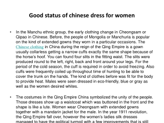 Good status of chinese dress for women