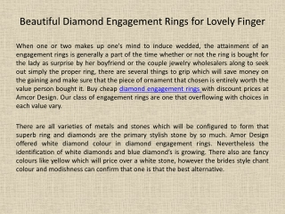 Beautiful Diamond Engagement Rings for Lovely Finger