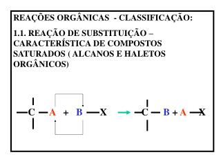 REA  ES ORG NICAS  - CLASSIFICA  O: 1.1. REA  O DE SUBSTITUI  O   CARACTER STICA DE COMPOSTOS SATURADOS  ALCANOS E HALET