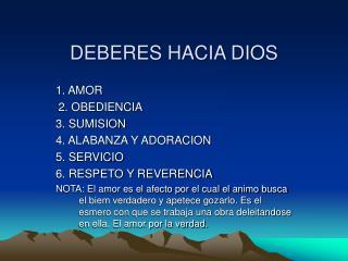DEBERES HACIA DIOS