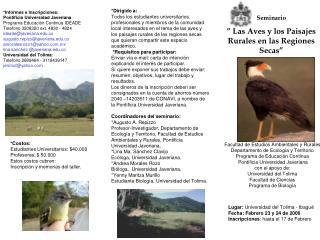 Seminario   Las Aves y los Paisajes Rurales en las Regiones Secas
