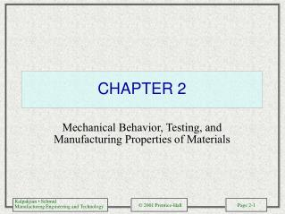 Mechanical Behavior, Testing, and Manufacturing Properties of Materials