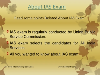 Read some points about IAS EXAM