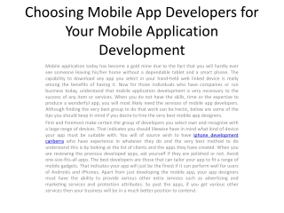 Choosing Mobile App Developers for Your Mobile Application2