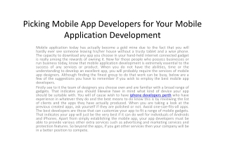 Picking Mobile App Developers for Your Mobile Application