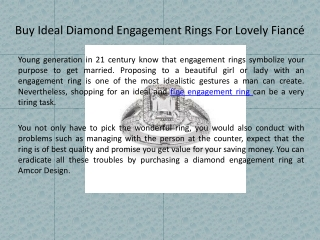 Buy Ideal Diamond Engagement Rings For Lovely Fiance