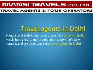 travel agents in Delhi