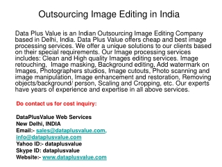 Outsourcing Image Editing in India