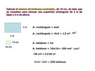 Calcula el n mero de baldosas cuadradas, de 10 cm, de lado que se necesitan para enlosar una superficie rectangular de 4