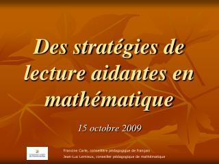 Des strat gies de lecture aidantes en math matique