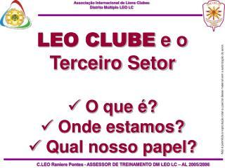 LEO CLUBE e o Terceiro Setor   O que    Onde estamos  Qual nosso papel