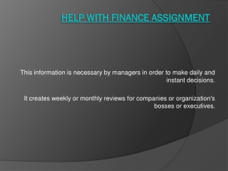 Help with Finance Management