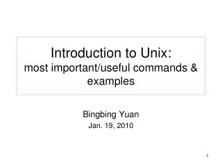 Introduction to Unix: most important
