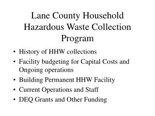 Lane County Household Hazardous Waste Collection Program