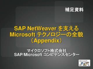SAP NetWeaver  Microsoft  Appendix