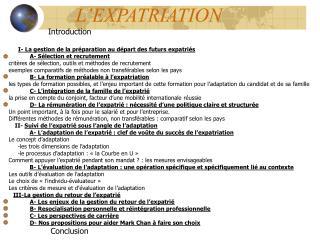 L EXPATRIATION