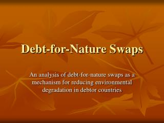 debt-for-nature swaps