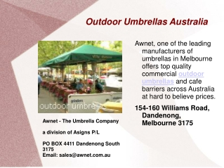 Outdoor Umbrellas in Melbourne, Australia