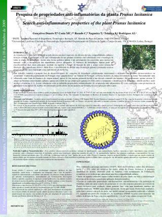 Pesquisa de propriedades anti-inflamat rias da planta Prunus lusitanica Search anti-inflammatory properties of the plant