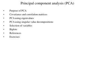 Principal component analysis PCA