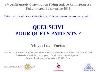 Service de Neuro-p diatrie, H pital Femme M re Enfant HFME, Hospices Civils de Lyon Universit  Claude Bernard Lyon 1, Fa