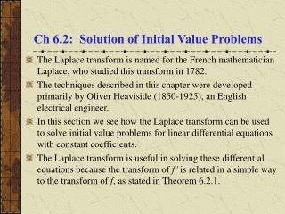 Ch 6.2:  Solution of Initial Value Problems