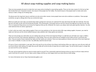 All about soap making supplies and soap making basics