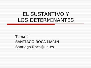 EL SUSTANTIVO Y  LOS DETERMINANTES