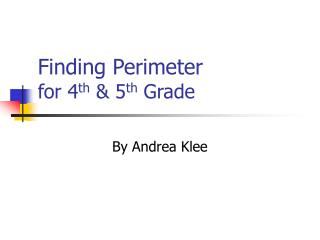 Finding Perimeter for 4th  5th Grade