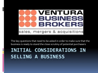 Initial considerations in selling a business