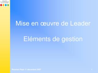 Mise en  uvre de Leader  El ments de gestion