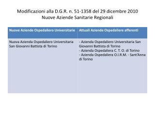 Modificazioni alla D.G.R. n. 51-1358 del 29 dicembre 2010 Nuove Aziende Sanitarie Regionali