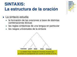 SINTAXIS: La estructura de la oraci n