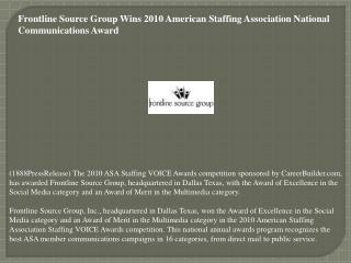 Frontline Source Group Wins 2010 American Staffing Associati