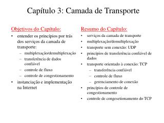 Cap tulo 3: Camada de Transporte