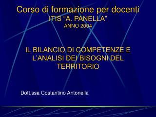 Corso di formazione per docenti ITIS  A. PANELLA  ANNO 2004   IL BILANCIO DI COMPETENZE E L ANALISI DEI BISOGNI DEL TERR