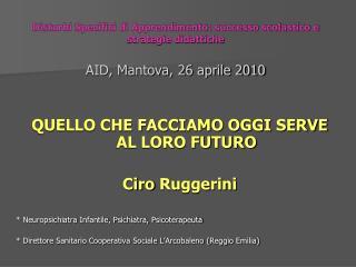 Disturbi Specifici di Apprendimento: successo scolastico e strategie didattiche  AID, Mantova, 26 aprile 2010