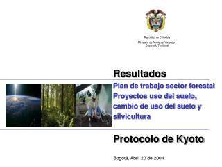 Resultados Plan de trabajo sector forestal Proyectos uso del suelo, cambio de uso del suelo y silvicultura  Protocolo de
