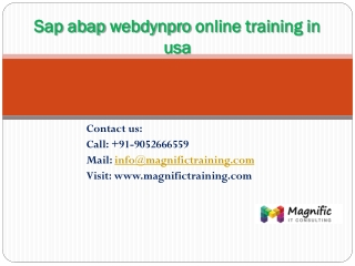 Sap abap webdynpro online training in usa