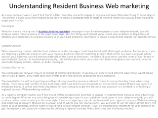 Understanding Resident Business Web marketing