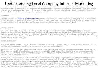 Understanding Local Company Internet Marketing