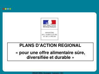 PLANS D ACTION REGIONAL   pour une offre alimentaire s re, diversifi e et durable