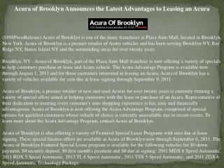 acura of brooklyn announces the latest advantages to leasing