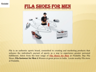 Explore Fila Shoes for Men Online in India