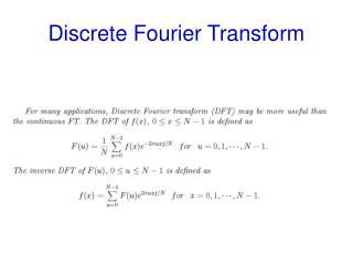 Discrete Fourier Transform