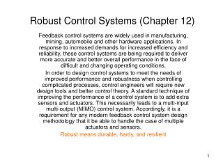 Robust Control Systems Chapter 12